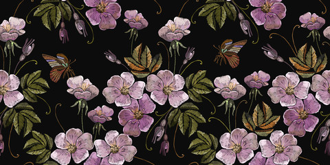 Panel Szklany Kwiaty Embroidery wild pink flowers and butterfly seamless pattern. Fashion template for clothes, textiles and t-shirt design
