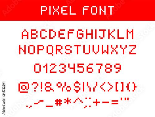 Valokuva  Pixel digital font.
