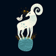 Vector Childish Hand-drawn Illustration. Mountain Sheep Standing On The Planet In Space And A Bird Sitting On It