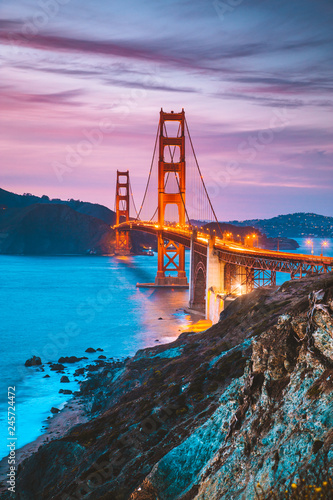 Golden Gate Bridge at twilight, San Francisco, California, USA