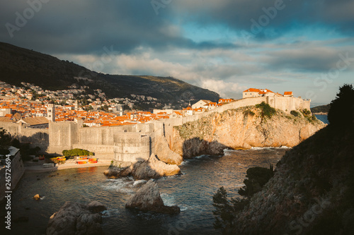 In de dag Centraal Europa Historic town of Dubrovnik at sunset, Dalmatia, Croatia