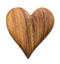 Carved Wooden Heart Isolated On White Without Shadow