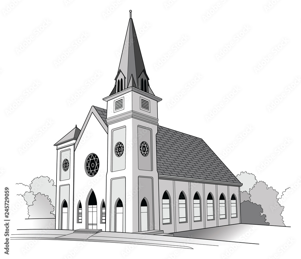 Fototapeta Church Line Drawing is a detailed illustration of a church.It has the shape of a traditional church but is an imaginary building