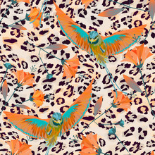 Seamless Pattern With Birds Of...