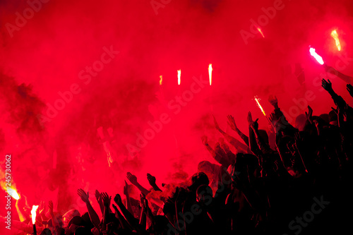 Vászonkép  Football fans lit up the lights, flares and smoke bombs