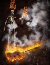 Burning Bass Guitar