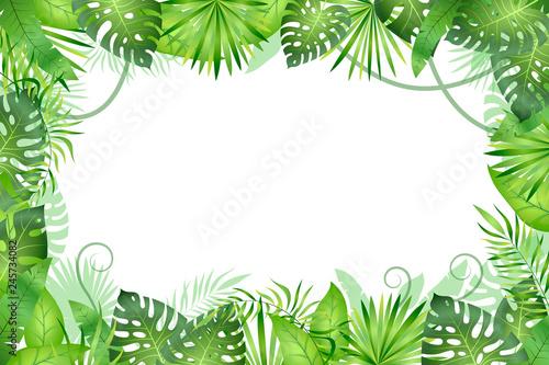 Jungle background. Tropical leaves frame. Rainforest foliage plants, green grass trees. Paradise african wildlife jungle - fototapety na wymiar