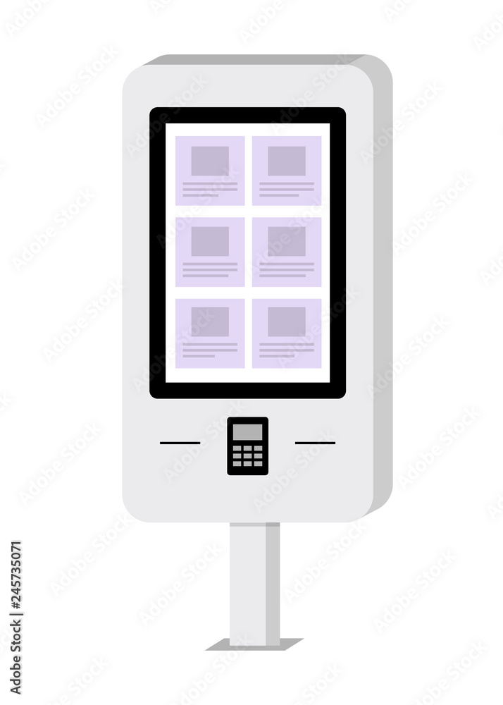 Fototapeta Payment and information electronic terminal with touch screen. ATM. Self-service terminal. Vector illustration in flat style.