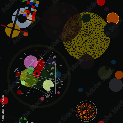 Vászonkép Seamless pattern with colorful abstract  art objects, abstract forms, circles can be used as cool print for clothes,  Vector illustration of a style of supermatism