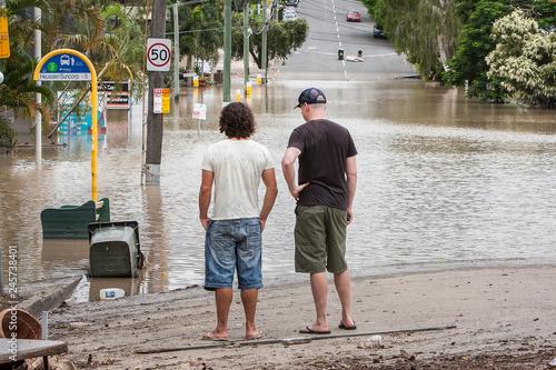 Men Observing Floodwater, Brisbane Floods 2011