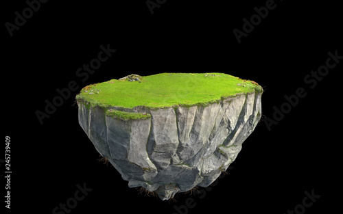 Fotografija 3D fantasy floating island with green grass land isolated on black, surreal floa