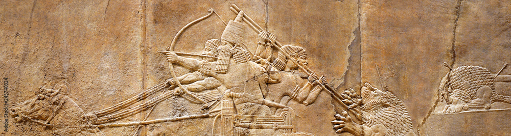 Fototapeta Assyrian wall relief of lion hunt, ancient history of Babylon and Shumer