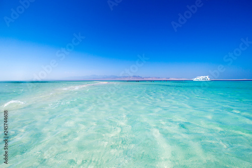 Wall Murals Green coral tropical Maldives island with white sandy beach and sea