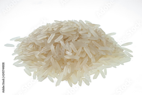 Handful of long-grain rice isolated on white background. One of the varieties of rice.