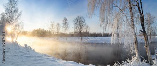 Poster Rivière de la forêt панорама рассвета на Рефтинском водохранилище зимой, Россия Урал, февраль