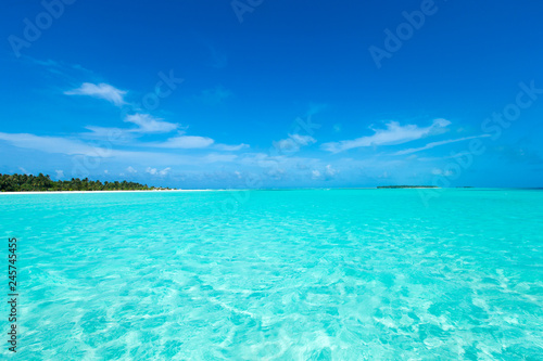 Photo Stands Turquoise tropical Maldives island with white sandy beach and sea