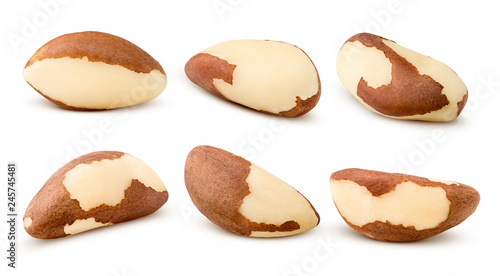 La pose en embrasure Brésil brazil nut, isolated on white background, clipping path, full depth of field