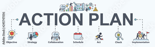 Obraz Action plan banner web icon for business and marketing. objective, strategy, Collaboration, Schedule, Plan and implementation. Minimal vector infographic. - fototapety do salonu