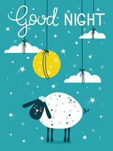 Hand Drawn Illustration With Sheep, Moon, Clouds, Stars And Lettering. Colorful Cute Background Vector. Good Night, Poster Design. Backdrop With English Text, Animal. Funny Card, Phrase