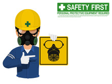 Industrial Worker Is Presenting Respiration Mask Sign