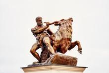 Sculpture Hercules With Wild Bull. Schwerin, Mecklenburg-Vorpommern.
