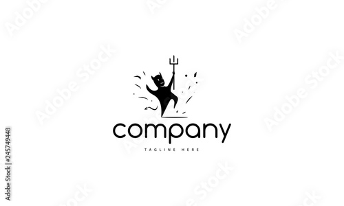 Fotografia, Obraz Black Vector logo which depicts a cheerful and perky dancing devil