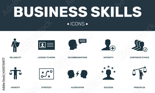 Photo Business Skills set icons collection