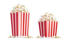 Paper Bag Full Of Popcorn Isolated On White Background.