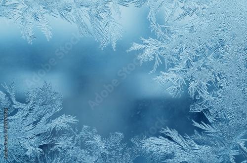 Abstract frosty pattern on glass, background texture Fototapeta