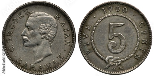 Photo  Sarawak silver coin 5 five cents 1900, British Influence, head of ruler Rajah C
