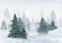 Watercolor Hand Drawn Painting Winter Forest On A Snowy Day