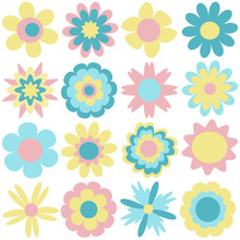 Set Of Cute Flowers In Pastel Colors. Spring And Summer Design, Vector