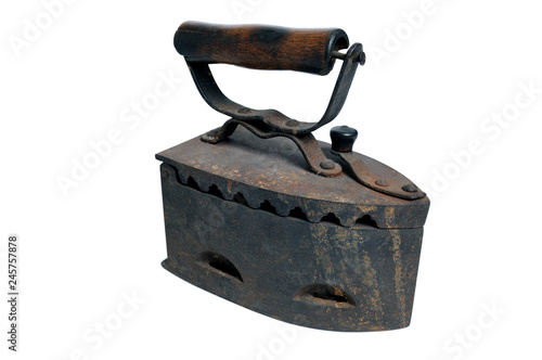 Fotografie, Obraz  Antique coal iron. Old rusty iron isolated on white background