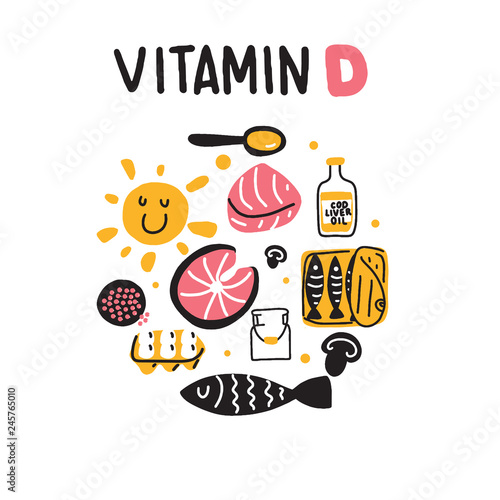 Fototapeta Vitamin D sources. Hand drawn circle illustration of different food rich of vitamin d. Vector. obraz