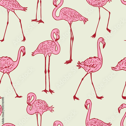 Canvas Prints Flamingo Bird Seamless background of the cartoon pink flamingos