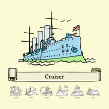 Sketch Russian Cruiser Aurora. Vector Illustration. Coloring Book With Doodle Ship. Handmade Museum Warship.