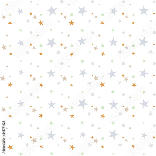 Fototapeta Colorful festive seamless pattern, abstract background with circles and stars on white. Infinity confetti geometric pattern. Wrapping paper. Vector illustration.  obraz na płótnie