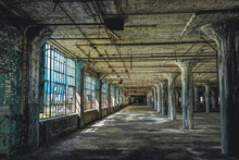 Interior View Of The Abandoned Fisher Body Plant Factory In Detroit. The Plant Is Abandoned And Vacant Ever Since.