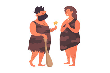 Primitive man in love gives a flower to his primitive girlfriend. Prehistoric people dressed in skins on a white isolated background. The life of Neanderthals and cavemen. Vector flat illustration.