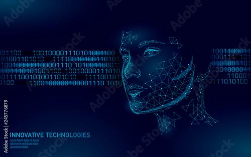 Fotografía  Low poly female human face biometric identification