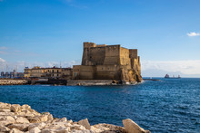 View Of The Coast In Naples With It's Famous Castel Dell'Ovo, Or Egg Castle, Italy