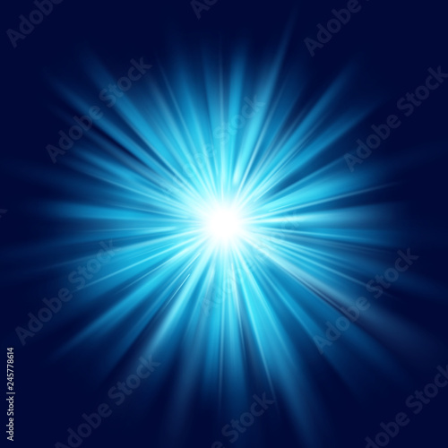 Valokuva Deep blue glow star burst flare explosion transparent light effect