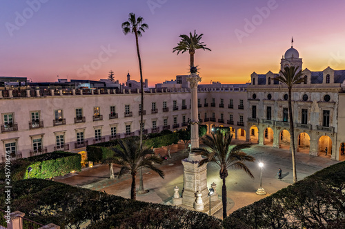 Historic Constitution square in downtown Almeria, Spain, at dusk; high angle view.