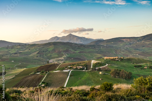 Tuinposter China landscape of green rural hills of Sicily