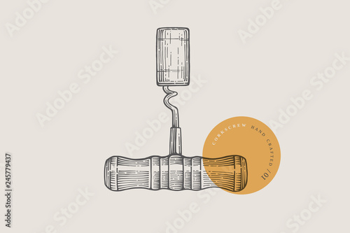 Fotografie, Obraz  Hand drawn corkscrew with wine cork illustration in engraving style on light background