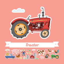 Cartoon Retro Tractor Vector Flat Illustration. Funny Isolated Cute Transportation. Farming Collection Rustic Stickers.