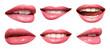 Leinwandbild Motiv Set of mouths with beautiful make-up isolated on white. Pink lipstick