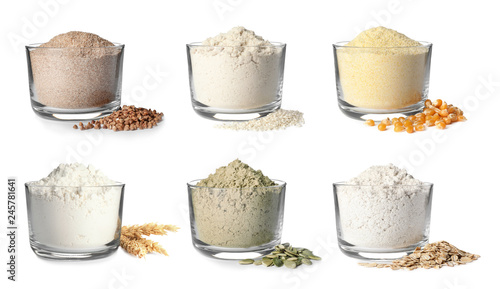 Set of organic flour in glass bowls on white background