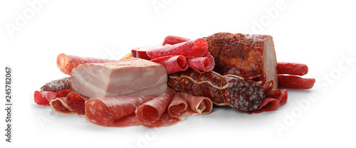 Different tasty meat delicacies on white background