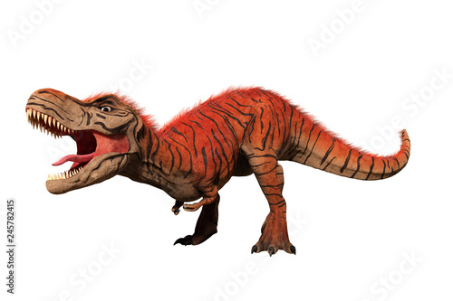 Cuadros en Lienzo Tyrannosaurus rex, T-rex dinosaur from the Jurassic period (3d illustration isol